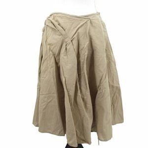 Dries Van Noten Asymmetrical Gathered A Line Wrap Skirt Linen Cotton Khaki 40